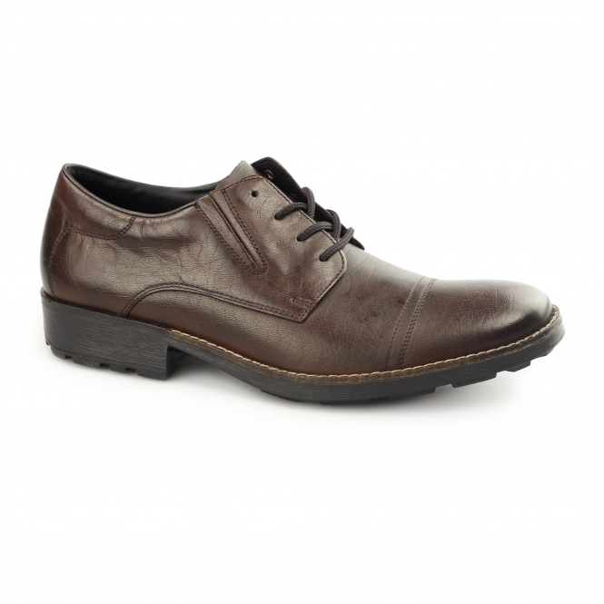 Rieker 16023-27 Mens Leather Lace-Up Wide Fit Shoes Brown