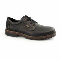 17710-00 Mens Leather Lace Up Wide Shoes Black