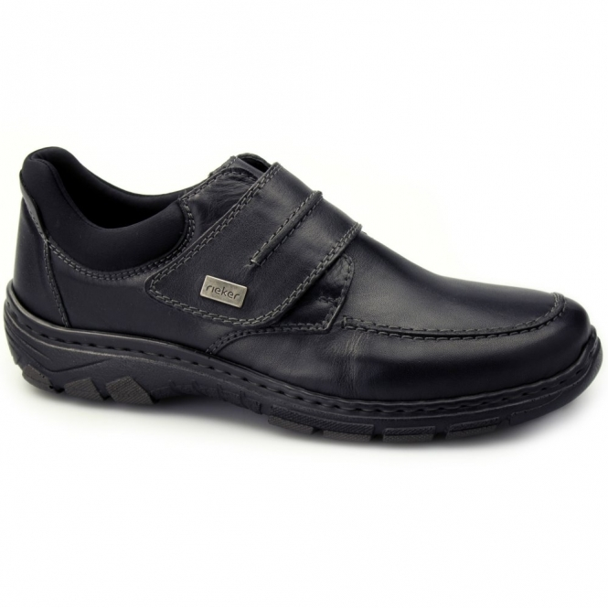 Rieker 19952-02 Mens Leather Touch Fasten Comfort Shoes Black