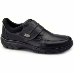 19952-02 Mens Leather Touch Fasten Comfort Shoes Black