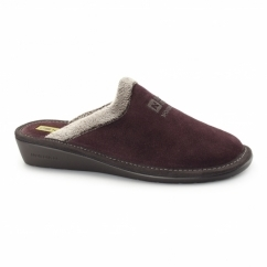 238 (AFELPADO) Ladies Suede Mule Slippers Bordeaux