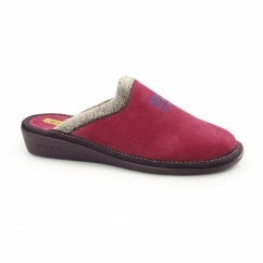 238 (AFELPADO) Ladies Suede Mule Slippers Fuchsia