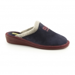 238 (AFELPADO) Ladies Suede Mule Slippers Marine Blue