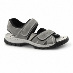 25051-40 Mens Leather Touch Fasten Sports Sandals Grey