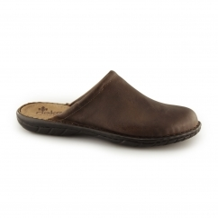 Rieker 26596 Mens Leather Slip-On Mule Slippers Chestnut