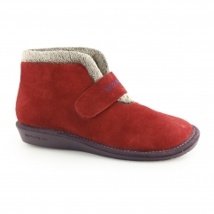 280 (AFELPADO) Ladies Suede Touch Fasten Boot Slippers Ruby