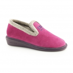 305 (AFELPADO) Ladies Suede Full Slipper Fuchsia