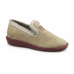 305 (AFELPADO) Ladies Suede Full Slipper Stone