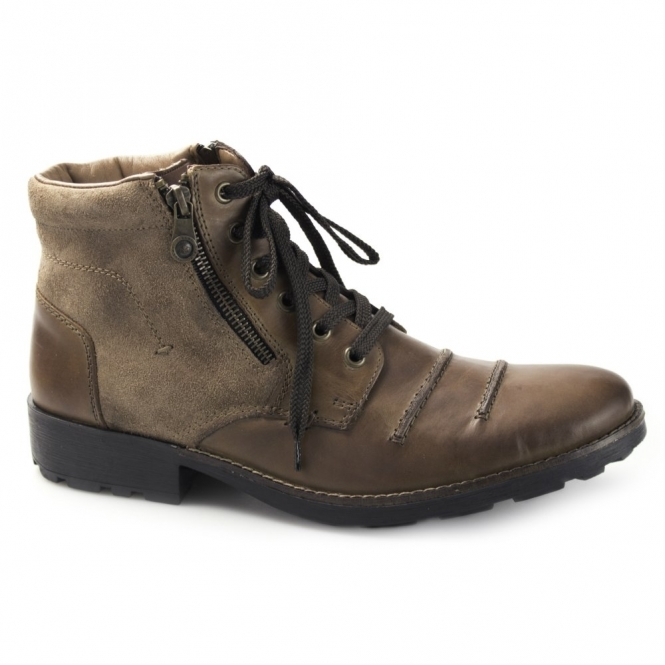 Rieker 36031 Mens Wool Lined Ankle Boots Brown