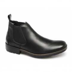 36082-00 Mens Leather Warm Low Cut Chelsea Boots Black