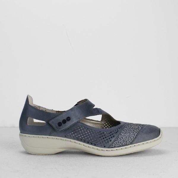 050771452d Rieker 41346-12 Ladies Womens Touch Fasten Mary Jane Shoes Jean Denim Blue
