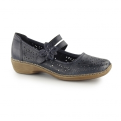 41372-14 Ladies Leather Touch Fasten Mary Jane Shoes Navy