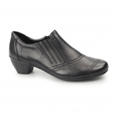 41700-00 Ladies Leather Slip On Heels Shoes Black