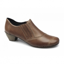 41700-22 Ladies Leather Slip On Heels Shoes Brown