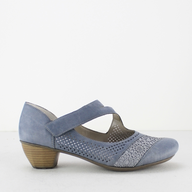 e927504186 Rieker 41743-12 Ladies Womens Mary Jane Shoes Jean Blue