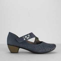 Rieker 41767-13 Ladies Touch Fasten Mary Jane Shoes Blue