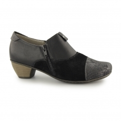 41781-00 Ladies Suede Black Heel Court Shoes Black