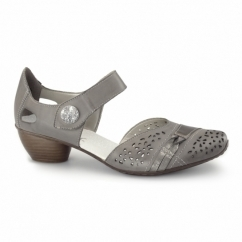 43715-42 Ladies Leather Touch Fasten Heeled Shoes Grey
