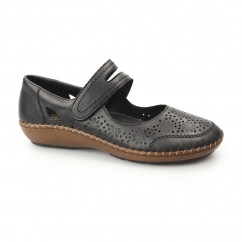 44875-00 Ladies Leather Mary Jane Touch Fasten Shoes Black