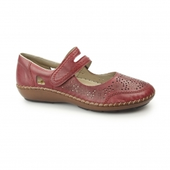 44875-33 Ladies Leather Mary Jane Touch Fasten Shoes Red