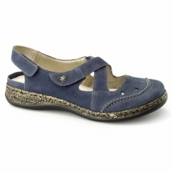 46379-14 Ladies Leather Touch Fasten Slingback Shoes Blue