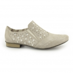 51952-90 Ladies Leather Slip On Shoes Beige
