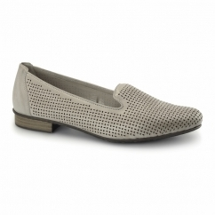 51977-40 Ladies Leather Loafer Shoes Grey