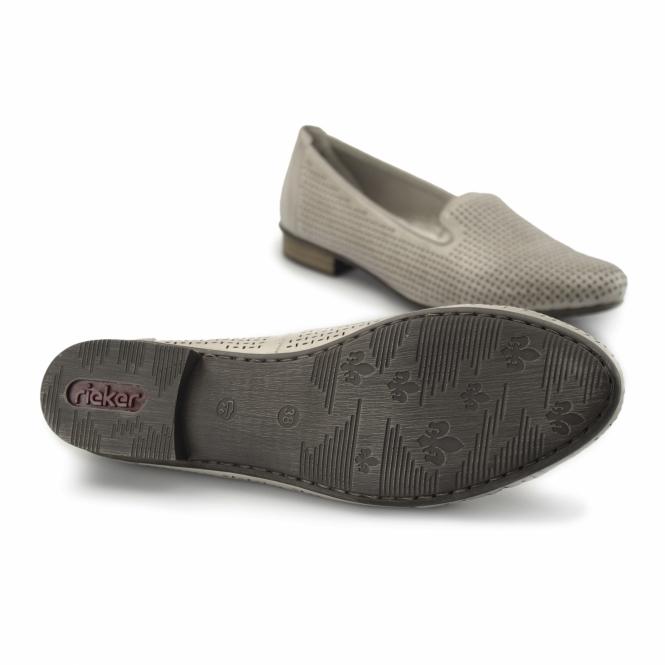 2a9e06fe22e Rieker 51977-40 Ladies Leather Loafer Pumps Flat Shoes Grey