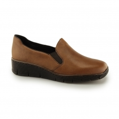 Rieker 53766 Ladies Leather Slip-On Loafer Shoes Nutmeg