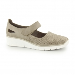 53767-42 Ladies Mary Jane Velcro Shoes Beige