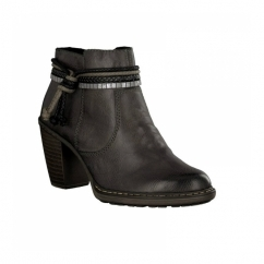 55298-46 Ladies Heeled Ankle Boots Dark Grey
