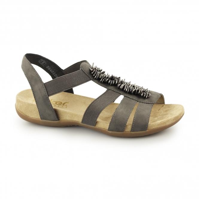 Rieker 60581-45 Ladies Slingback Open Toe Sandals Dark Grey
