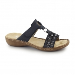 60871-14 Ladies Touch Close Open Toe Mule Sandals Navy