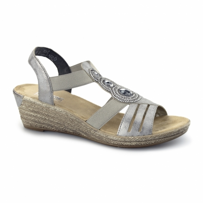 40 Wedge GreyShuperb Rieker co uk Slingback 62459 Sandals Ladies 80PnwkO