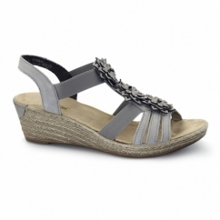 62461-43 Ladies Wedge Slingback Sandals Grey