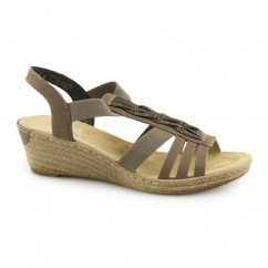 Rieker 62479-42 Ladies Slingback Wedge Heel Sandals Mink/Gold