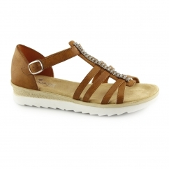 Rieker 63128-24 Ladies Buckle Open Toe Platform Sandals Tan