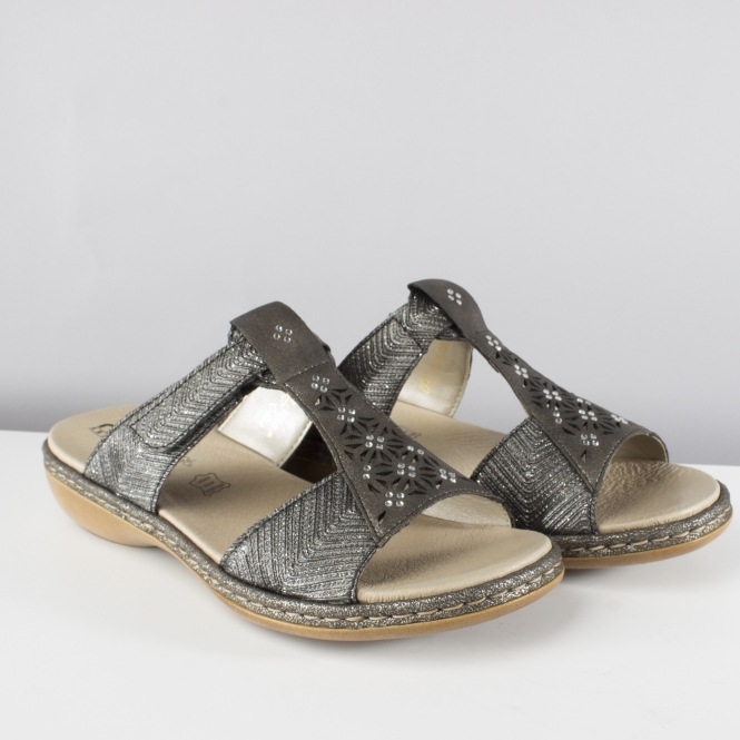 1828fc6fd44e Rieker 65950-90 Ladies Mule Slip On Sandals Black Metallic