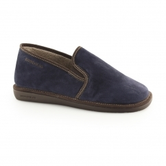 663 (AFELPADO) Mens Suede Leather Full Slippers Marine Blue
