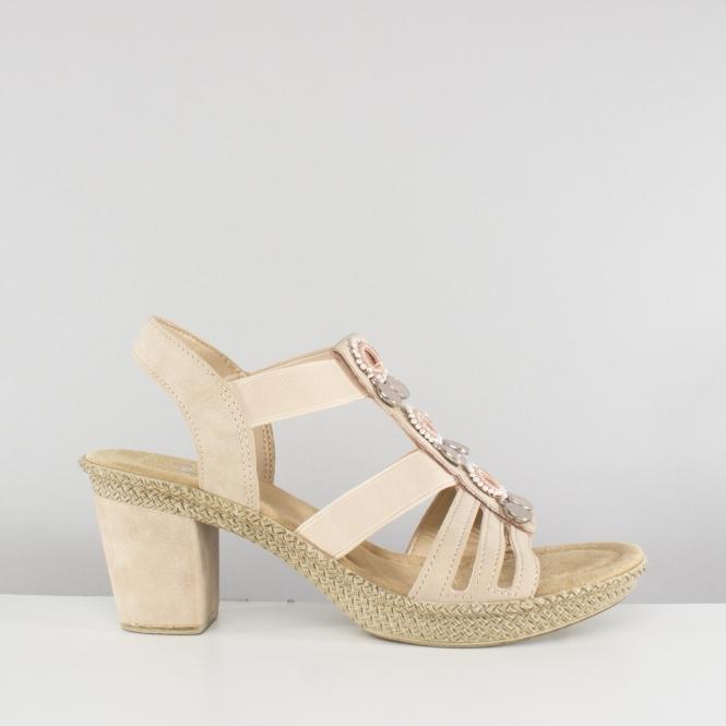 0f1ec37e9ca3f Rieker 66527-31 Ladies Embellished Block Heel Sandals Nude | Shuperb