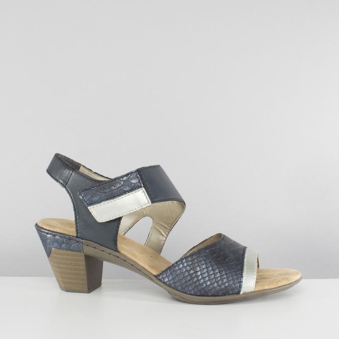 598351ba79d85 Rieker 67367-90 Ladies Touch Fasten Block Heel Sandals Blue | Shuperb