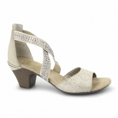 67693-61 Ladies Heeled Diamante Sandals Beige