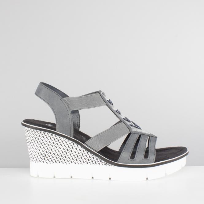 50b0638b5 Rieker 68501-14 Ladies Slip On Wedge High Heel Sandals Jean Blue