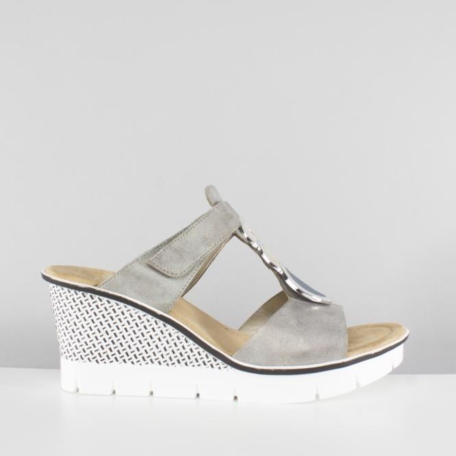 b6291860f Rieker 68563-40 Ladies Mule Slip On Wedge High Heel Sandals Silver