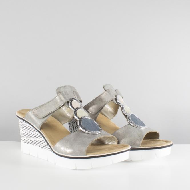 3990f1eff71 Rieker 68563-40 Ladies Mule Slip On Wedge High Heel Sandals Silver