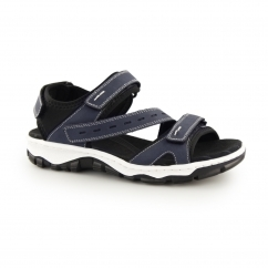 Rieker 68868-14 Ladies Leather Velcro Sports Sandals Navy