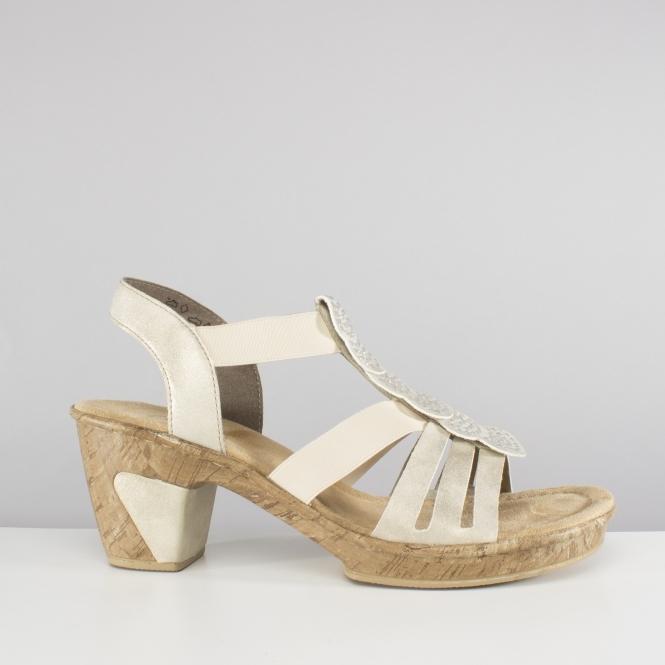 998340770a18b Rieker 69702-60 Ladies Block Heel Sandals Beige/Gold | Shuperb