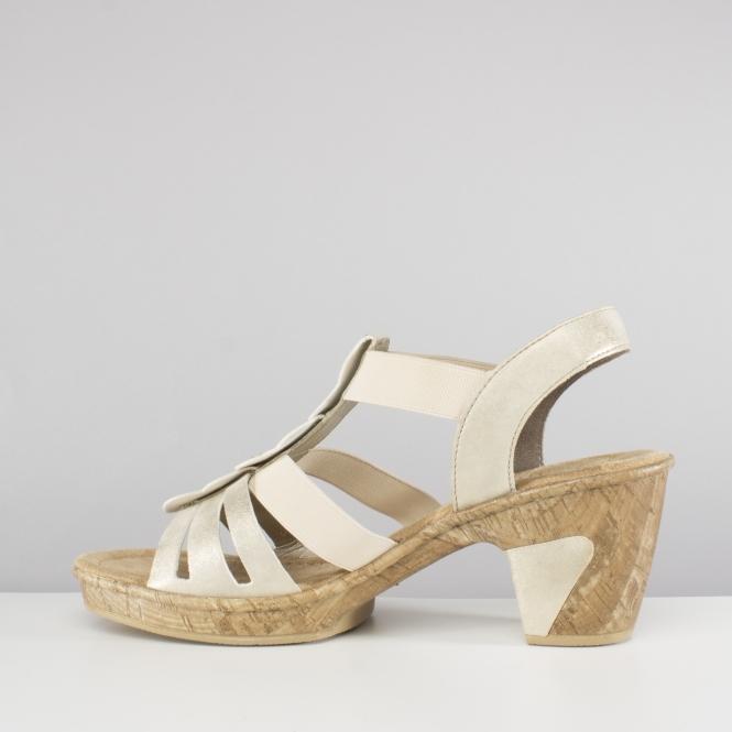 Ladies Rieker 69702 Beige Metallic Synthetic Heeled Sandals