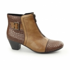 70581-25 Ladies Leather Zip Detail Heel Ankle Boots Brown