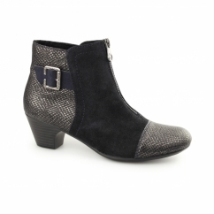 70581-90 Ladies Suede Centre Zip Heel Ankle Boots Navy/Metallic